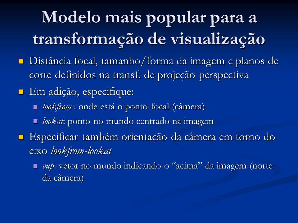Modelo mais popular para a transformação de visualização Distância focal, tamanho/forma da imagem e planos de corte definidos na transf. de projeção p