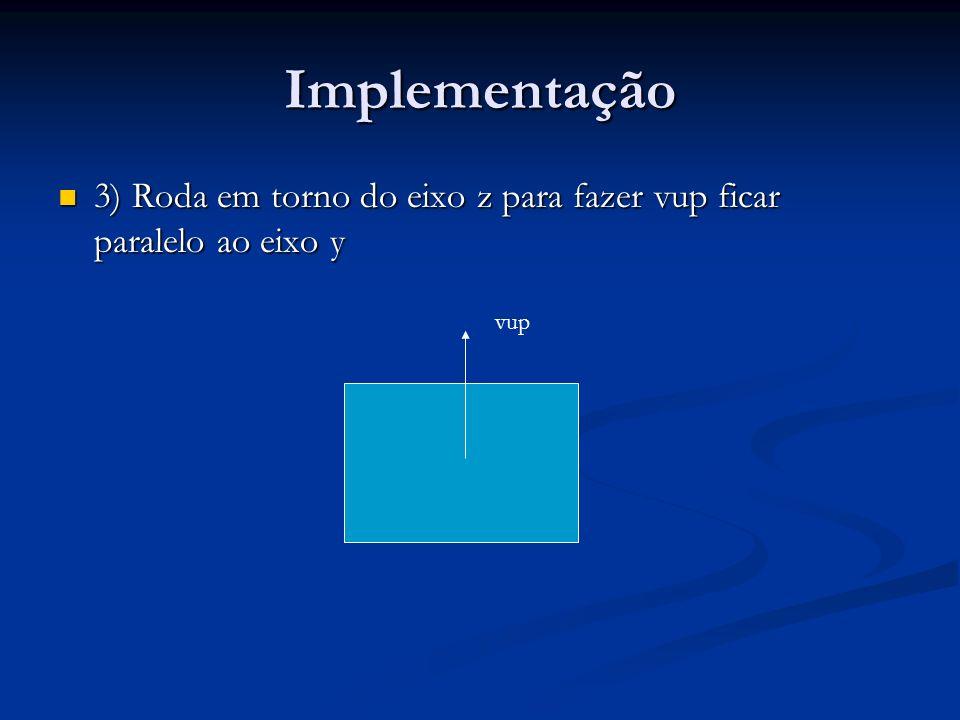 Implementação 3) Roda em torno do eixo z para fazer vup ficar paralelo ao eixo y 3) Roda em torno do eixo z para fazer vup ficar paralelo ao eixo y vup
