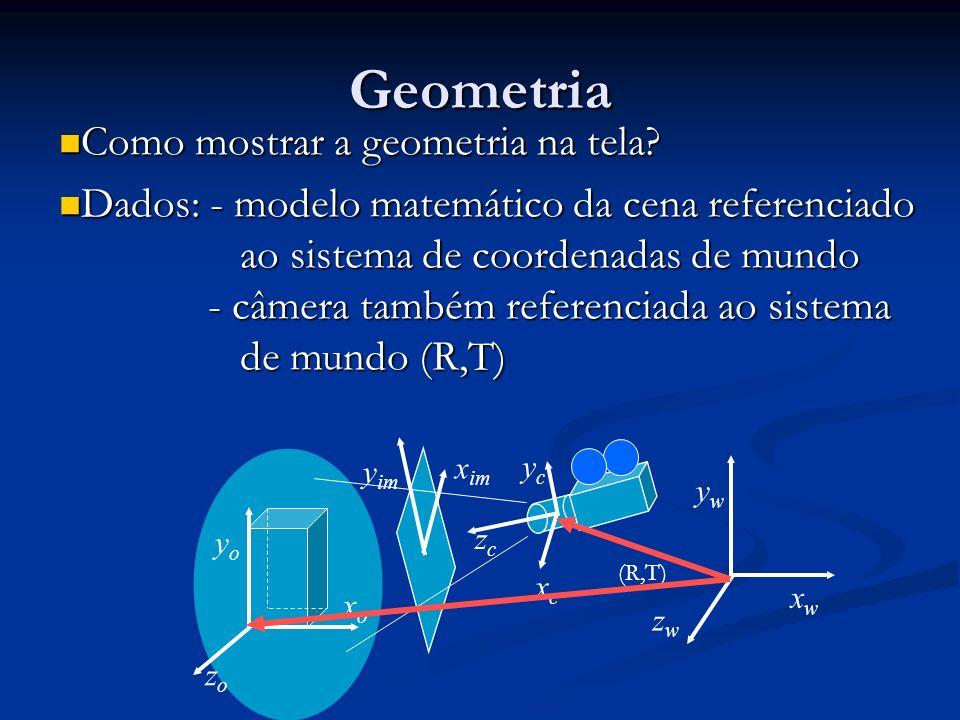 Geometria Como mostrar a geometria na tela? Como mostrar a geometria na tela? Dados: - modelo matemático da cena referenciado Dados: - modelo matemáti