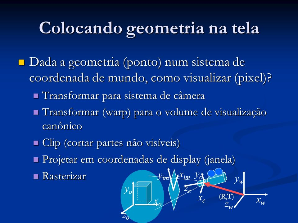 Visualização e projeção Nossos olhos colapsam o mundo 3D para uma imagem 2D na retina Nossos olhos colapsam o mundo 3D para uma imagem 2D na retina Este processo ocorre por Projeção Este processo ocorre por Projeção Projeção tem duas partes: Projeção tem duas partes: Transformação de visualização: posição da câmera e sua direção Transformação de visualização: posição da câmera e sua direção Transformação de projeção (perspectiva ou ortogonal): reduz 3D para 2D Transformação de projeção (perspectiva ou ortogonal): reduz 3D para 2D