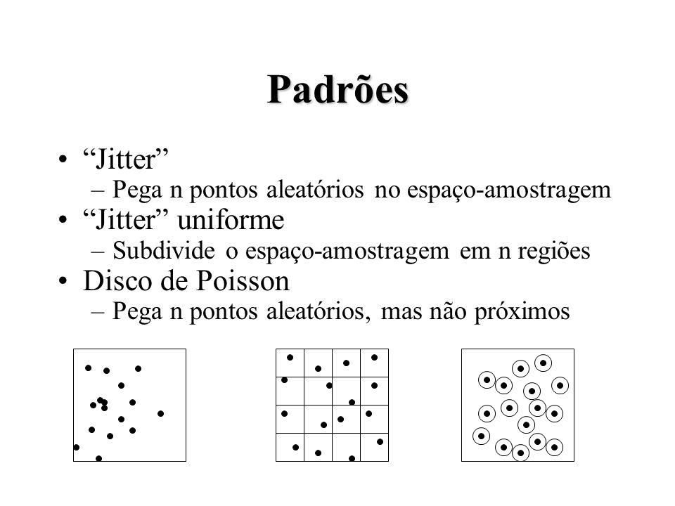 Padrões Jitter –Pega n pontos aleatórios no espaço-amostragem Jitter uniforme –Subdivide o espaço-amostragem em n regiões Disco de Poisson –Pega n pontos aleatórios, mas não próximos