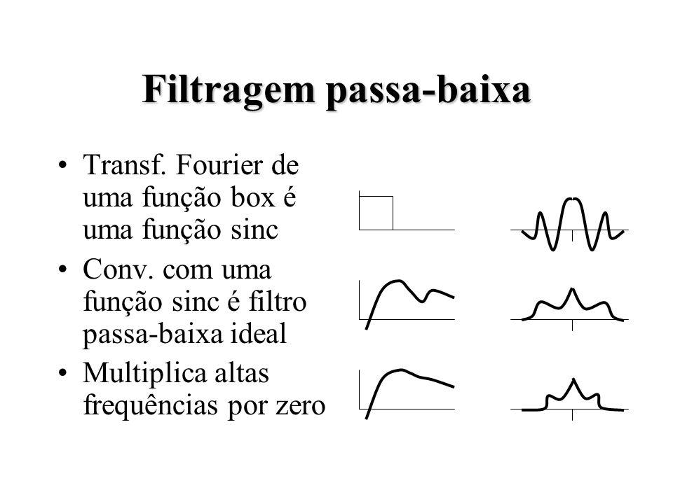 Filtragem passa-baixa Transf. Fourier de uma função box é uma função sinc Conv.