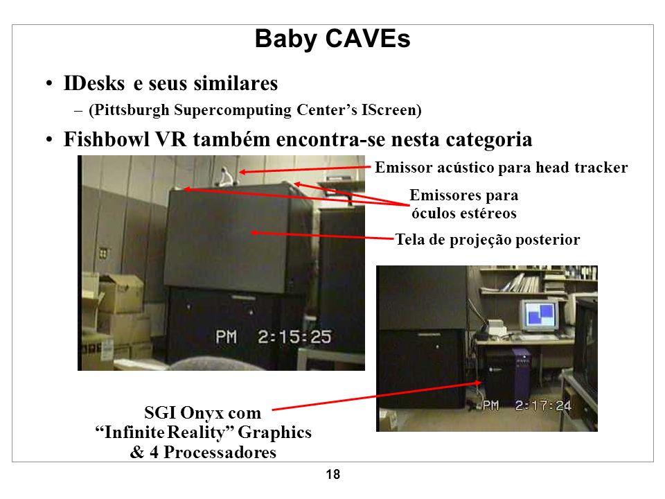 18 Baby CAVEs IDesks e seus similares –(Pittsburgh Supercomputing Centers IScreen) Fishbowl VR também encontra-se nesta categoria Emissor acústico par