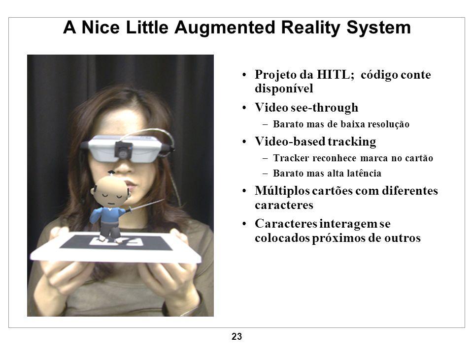 23 A Nice Little Augmented Reality System Projeto da HITL; código conte disponível Video see-through –Barato mas de baixa resolução Video-based tracki