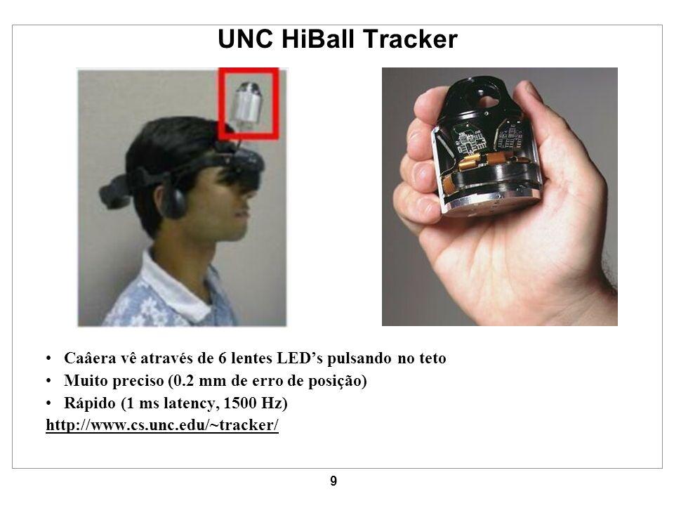 9 UNC HiBall Tracker Caâera vê através de 6 lentes LEDs pulsando no teto Muito preciso (0.2 mm de erro de posição) Rápido (1 ms latency, 1500 Hz) http