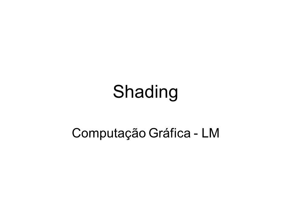 Phong Shading Calcular normal em cada vértice Para determinar cor de cada pixel: –Interpolar normais linearmente, usando mesma idéia acima –Calcular valor de shading usando normal interpolada (usando equação de shading) –Resultado é melhor que interpolar shading diretamente