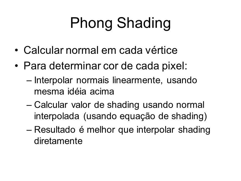 Phong Shading Calcular normal em cada vértice Para determinar cor de cada pixel: –Interpolar normais linearmente, usando mesma idéia acima –Calcular v