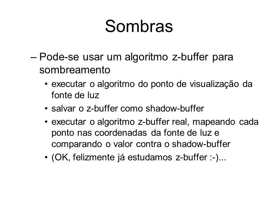 Sombras –Pode-se usar um algoritmo z-buffer para sombreamento executar o algoritmo do ponto de visualização da fonte de luz salvar o z-buffer como sha