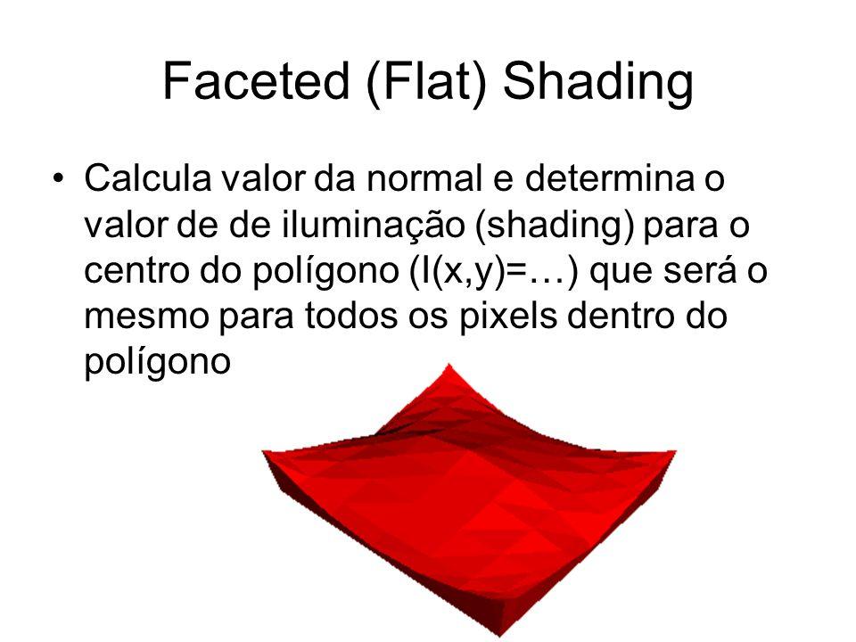 Faceted (Flat) Shading Calcula valor da normal e determina o valor de de iluminação (shading) para o centro do polígono (I(x,y)=…) que será o mesmo pa