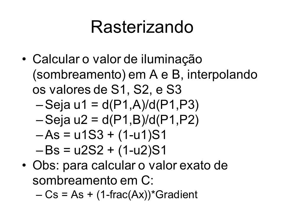 Rasterizando Calcular o gradiente de sombreamento ao longo da linha: –Gradient = (Bs - As) / d(A,B) –Obs: d(A,B) = (Bx-Ax), onde Ax,Bx = valor da coordenada em X de A,B Calcular o valor de cada pixel e pintar tela: Shade = Cs loop X from Cx to Dx plot pixel at (X,Y) with colour Shade Shade = Shade + Gradient End of X loop