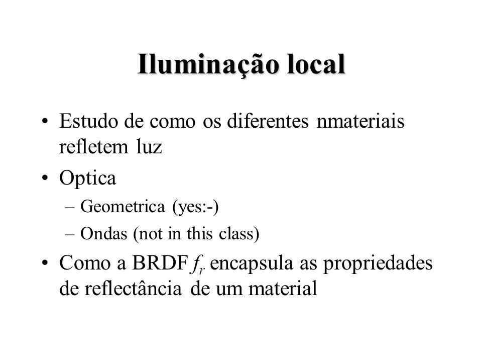 Iluminação local Estudo de como os diferentes nmateriais refletem luz Optica –Geometrica (yes:-) –Ondas (not in this class) Como a BRDF f r encapsula as propriedades de reflectância de um material