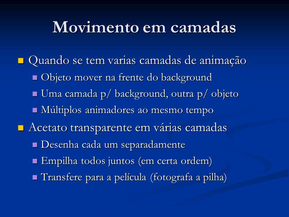 Movimento em camadas Quando se tem varias camadas de animação Quando se tem varias camadas de animação Objeto mover na frente do background Objeto mov