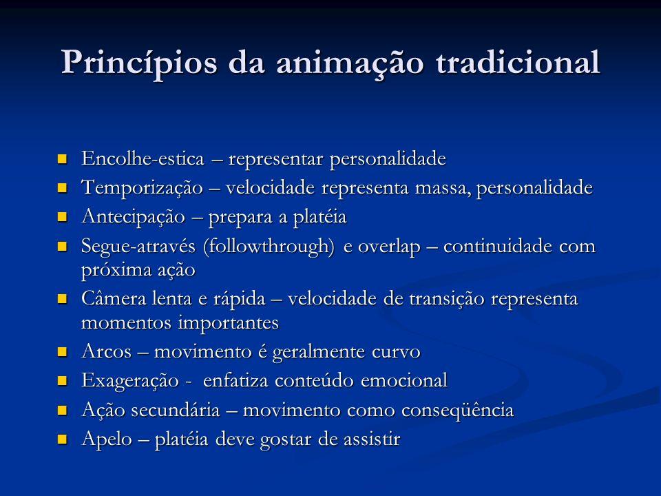 Princípios da animação tradicional Encolhe-estica – representar personalidade Encolhe-estica – representar personalidade Temporização – velocidade rep