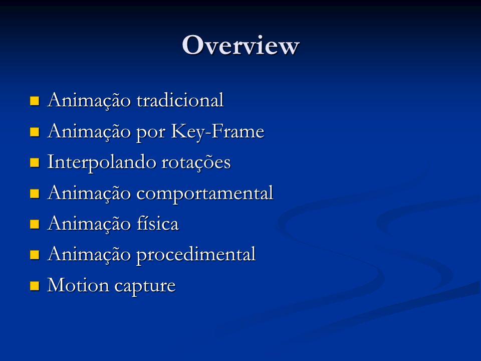 Animação por computador Visão unificada Visão unificada Modelos tem parâmetros: posição dos polígonos, normais, pontos de controle de splines, ângulos de juntas, parâmetros de câmera, iluminação, cor Modelos tem parâmetros: posição dos polígonos, normais, pontos de controle de splines, ângulos de juntas, parâmetros de câmera, iluminação, cor Parâmetros definem um espaço de estados Parâmetros definem um espaço de estados Se uma cena tiver n parâmetros Se uma cena tiver n parâmetros Valores dos parâmetros em um dado instante são um ponto neste espaço de estados Valores dos parâmetros em um dado instante são um ponto neste espaço de estados