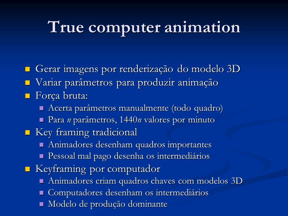 True computer animation Gerar imagens por renderização do modelo 3D Gerar imagens por renderização do modelo 3D Variar parâmetros para produzir animaç