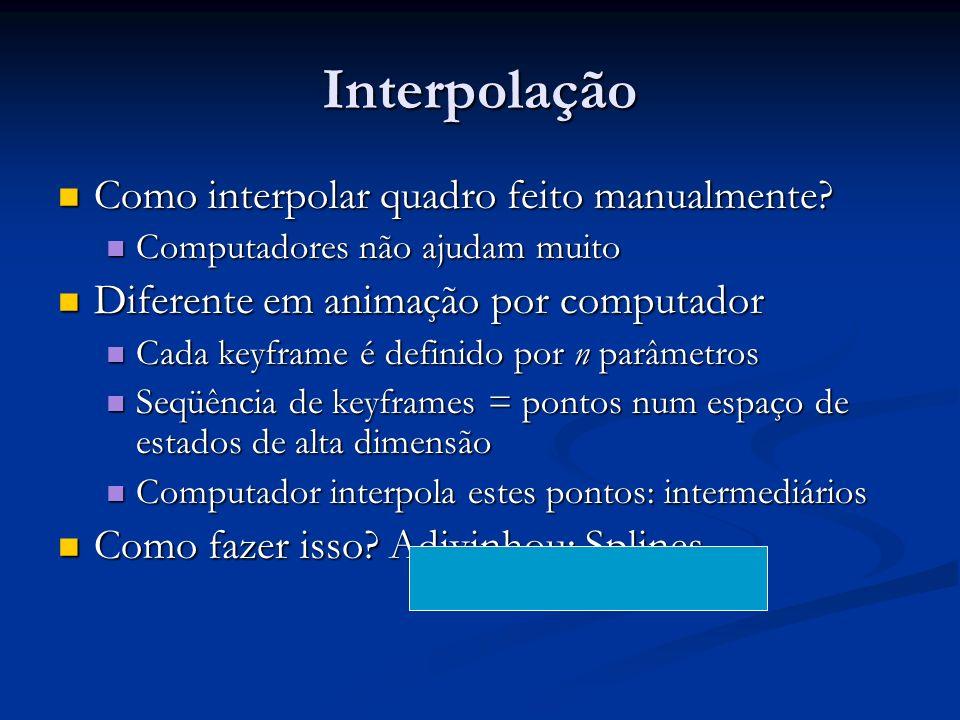 Interpolação Como interpolar quadro feito manualmente? Como interpolar quadro feito manualmente? Computadores não ajudam muito Computadores não ajudam