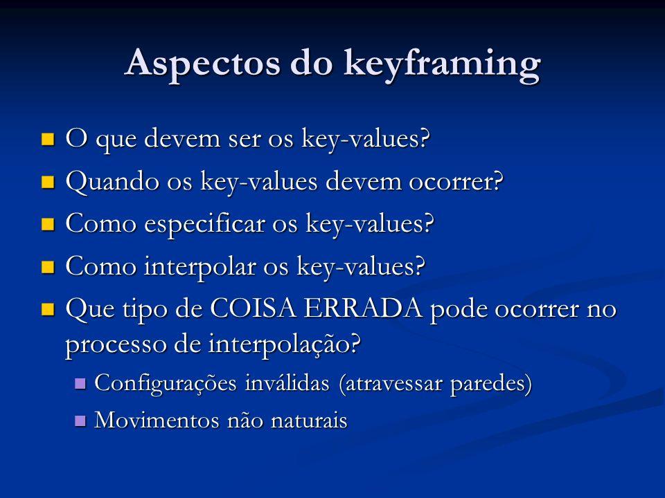 Aspectos do keyframing O que devem ser os key-values? O que devem ser os key-values? Quando os key-values devem ocorrer? Quando os key-values devem oc