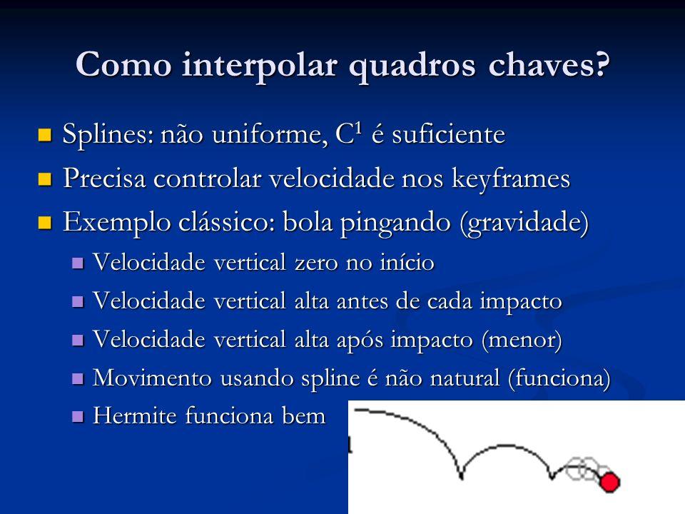 Como interpolar quadros chaves? Splines: não uniforme, C 1 é suficiente Splines: não uniforme, C 1 é suficiente Precisa controlar velocidade nos keyfr