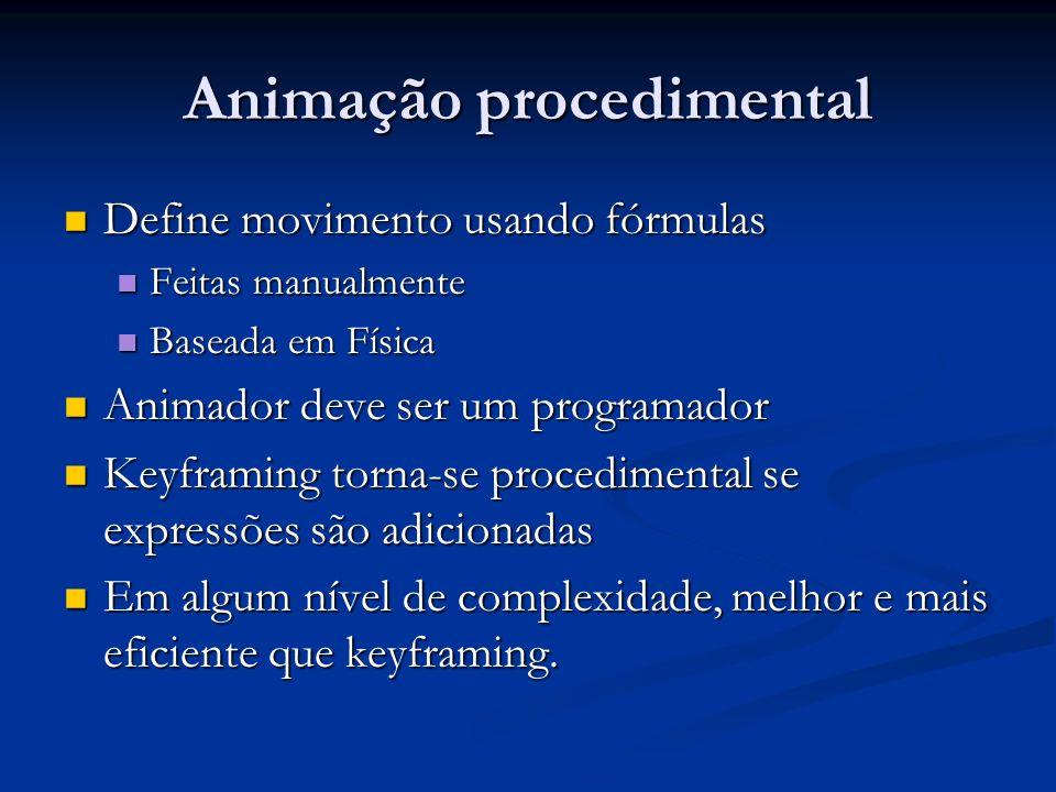 Animação procedimental Define movimento usando fórmulas Define movimento usando fórmulas Feitas manualmente Feitas manualmente Baseada em Física Basea
