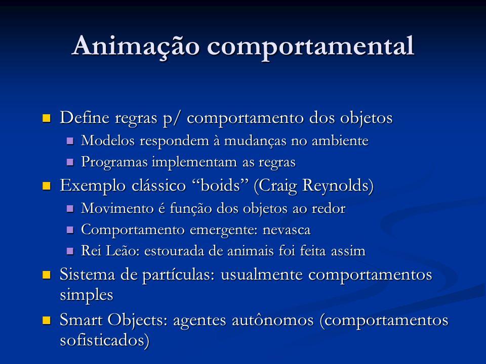 Animação comportamental Define regras p/ comportamento dos objetos Define regras p/ comportamento dos objetos Modelos respondem à mudanças no ambiente