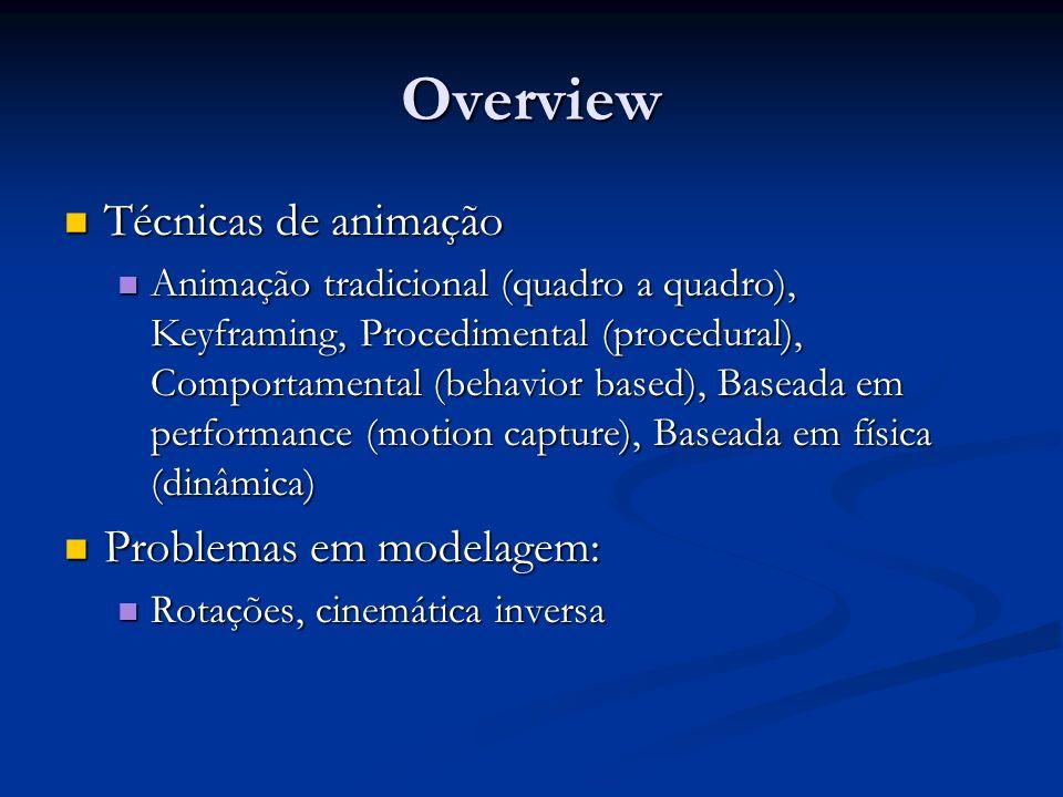Overview Técnicas de animação Técnicas de animação Animação tradicional (quadro a quadro), Keyframing, Procedimental (procedural), Comportamental (beh