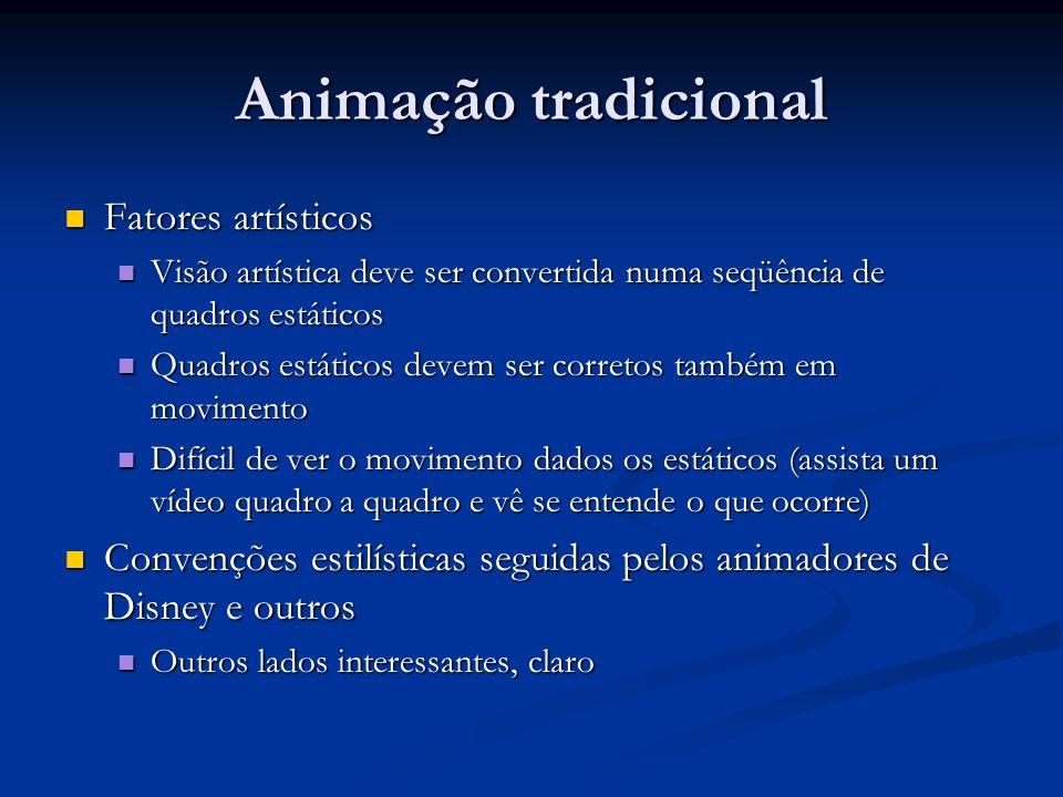 Animação tradicional Fatores artísticos Fatores artísticos Visão artística deve ser convertida numa seqüência de quadros estáticos Visão artística dev
