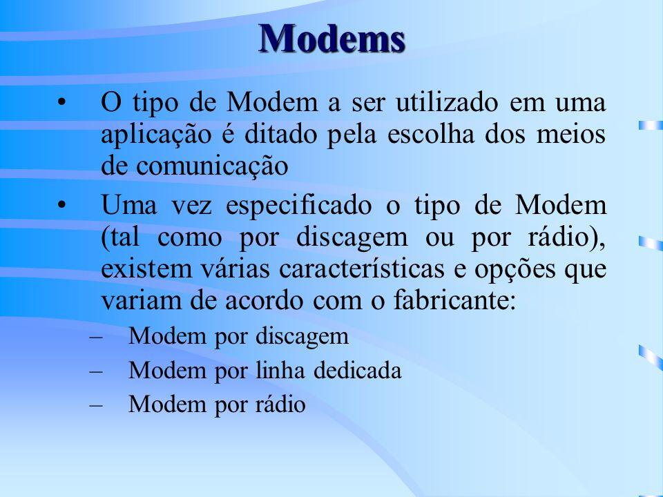 Modems Podem ser usados tanto para aplicações ponto-para-ponto, como para aplicações ponto-para-multiponto A consideração principal para modems de rádio é a banda de freqüência que os mesmos vão operar Os usuários finais devem estar licenciados para operar um modem de rádio em uma localização particular com determinadas freqüências de rádio