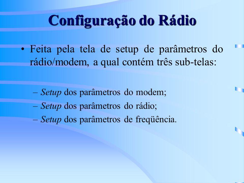 Feita pela tela de setup de parâmetros do rádio/modem, a qual contém três sub-telas: –Setup dos parâmetros do modem; –Setup dos parâmetros do rádio; –Setup dos parâmetros de freqüência.