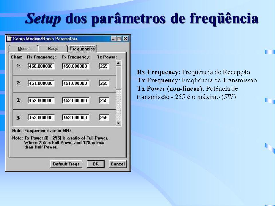 Setup dos parâmetros de freqüência Rx Frequency: Freqüência de Recepção Tx Frequency: Freqüência de Transmissão Tx Power (non-linear): Potência de transmissão - 255 é o máximo (5W)