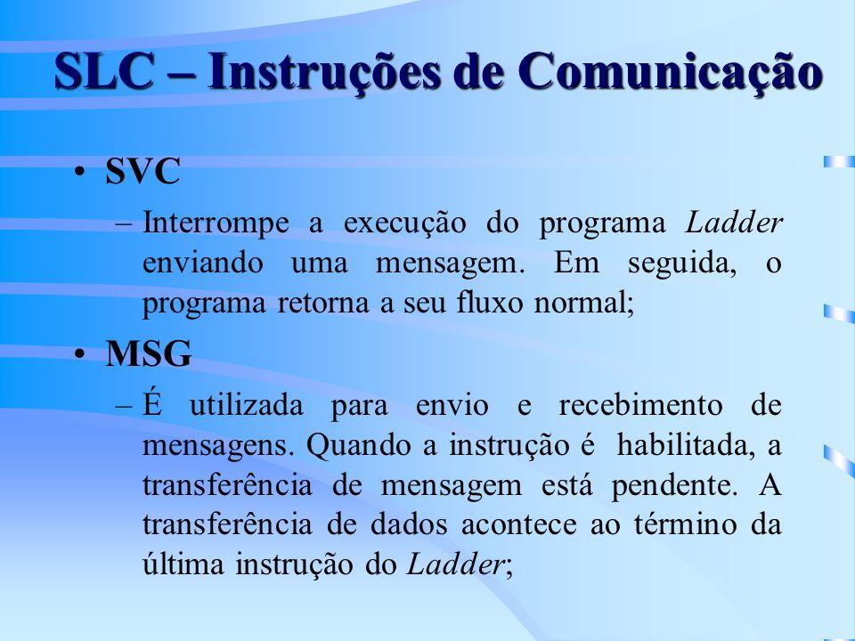 SVC –Interrompe a execução do programa Ladder enviando uma mensagem. Em seguida, o programa retorna a seu fluxo normal; MSG –É utilizada para envio e