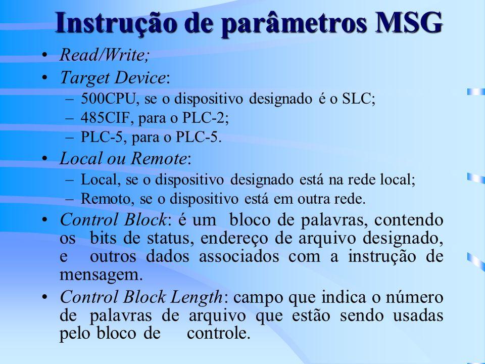Read/Write; Target Device: –500CPU, se o dispositivo designado é o SLC; –485CIF, para o PLC-2; –PLC-5, para o PLC-5.