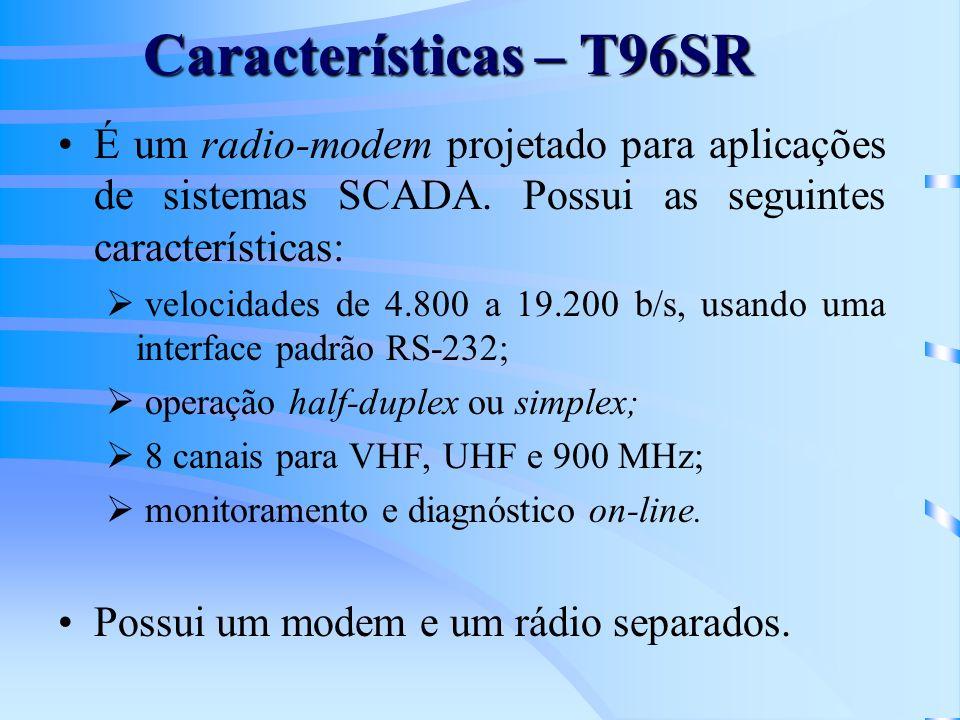 Características – T96SR É um radio-modem projetado para aplicações de sistemas SCADA. Possui as seguintes características: velocidades de 4.800 a 19.2