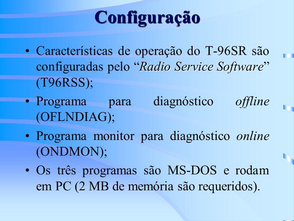 Configuração Radio Service SoftwareCaracterísticas de operação do T-96SR são configuradas pelo Radio Service Software (T96RSS); Programa para diagnóstico offline (OFLNDIAG); Programa monitor para diagnóstico online (ONDMON); Os três programas são MS-DOS e rodam em PC (2 MB de memória são requeridos).