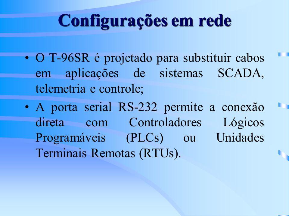 Configurações em rede O T-96SR é projetado para substituir cabos em aplicações de sistemas SCADA, telemetria e controle; A porta serial RS-232 permite a conexão direta com Controladores Lógicos Programáveis (PLCs) ou Unidades Terminais Remotas (RTUs).