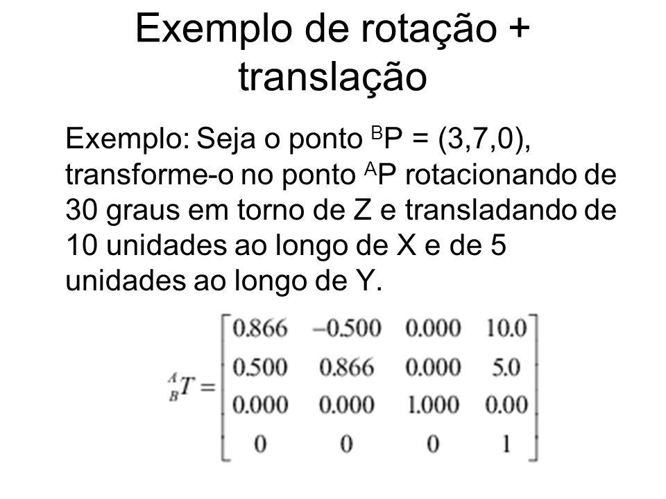 Exemplo de rotação + translação Exemplo: Seja o ponto B P = (3,7,0), transforme-o no ponto A P rotacionando de 30 graus em torno de Z e transladando d