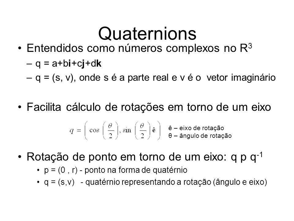 Quaternions Entendidos como números complexos no R 3 –q = a+bi+cj+dk –q = (s, v), onde s é a parte real e v é o vetor imaginário Facilita cálculo de r