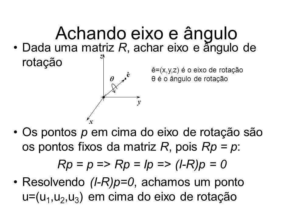 Dada uma matriz R, achar eixo e ângulo de rotação Os pontos p em cima do eixo de rotação são os pontos fixos da matriz R, pois Rp = p: Rp = p => Rp =