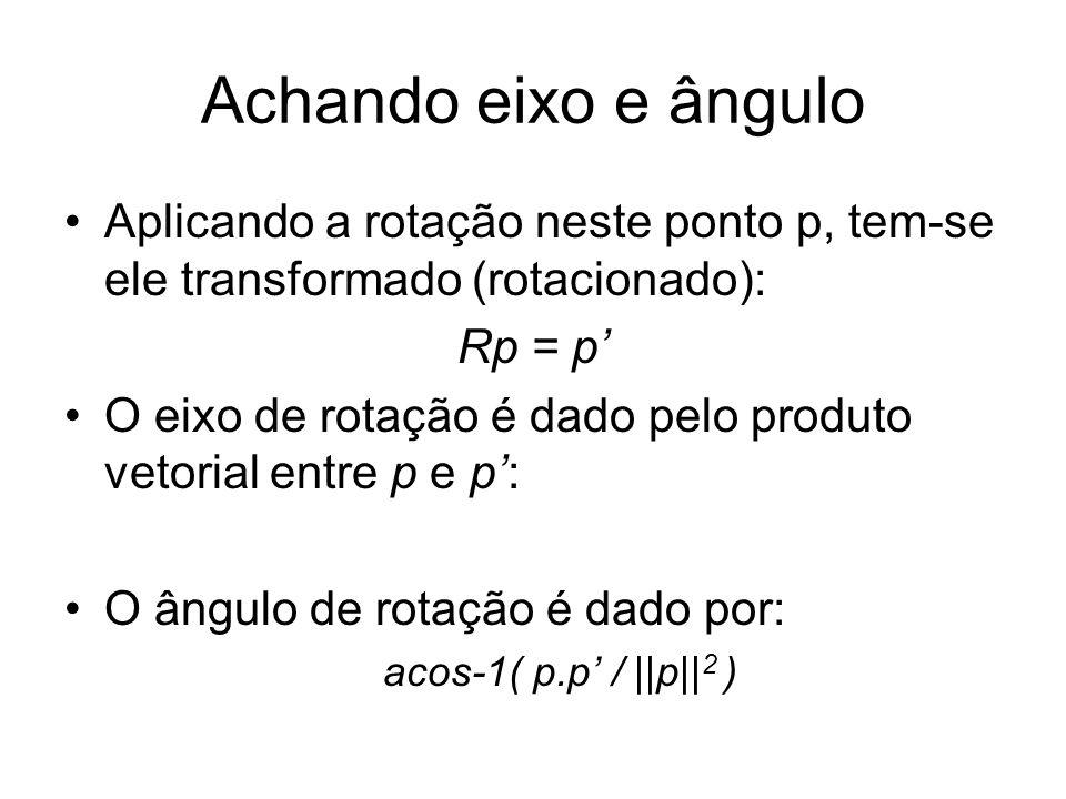 Achando eixo e ângulo Aplicando a rotação neste ponto p, tem-se ele transformado (rotacionado): Rp = p O eixo de rotação é dado pelo produto vetorial