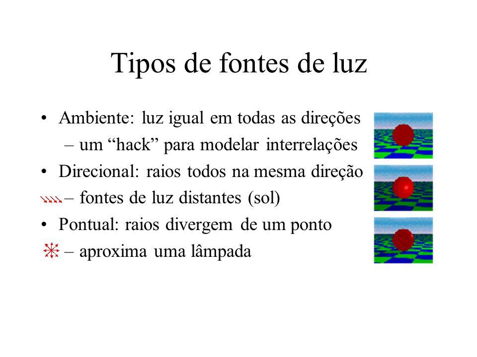 Tipos de fontes de luz Ambiente: luz igual em todas as direções –um hack para modelar interrelações Direcional: raios todos na mesma direção –fontes d