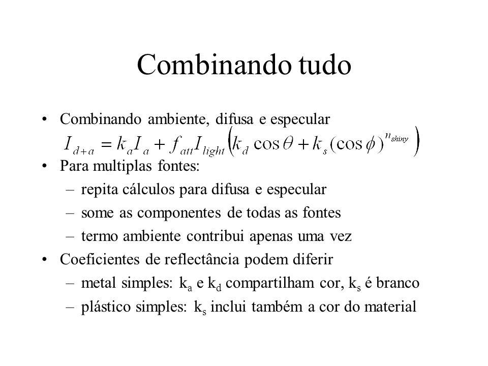 Combinando tudo Combinando ambiente, difusa e especular Para multiplas fontes: –repita cálculos para difusa e especular –some as componentes de todas
