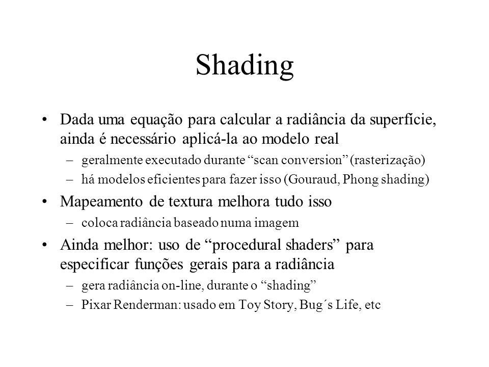 Shading Dada uma equação para calcular a radiância da superfície, ainda é necessário aplicá-la ao modelo real –geralmente executado durante scan conve
