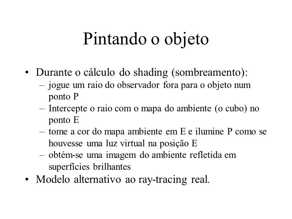 Pintando o objeto Durante o cálculo do shading (sombreamento): –jogue um raio do observador fora para o objeto num ponto P –Intercepte o raio com o ma