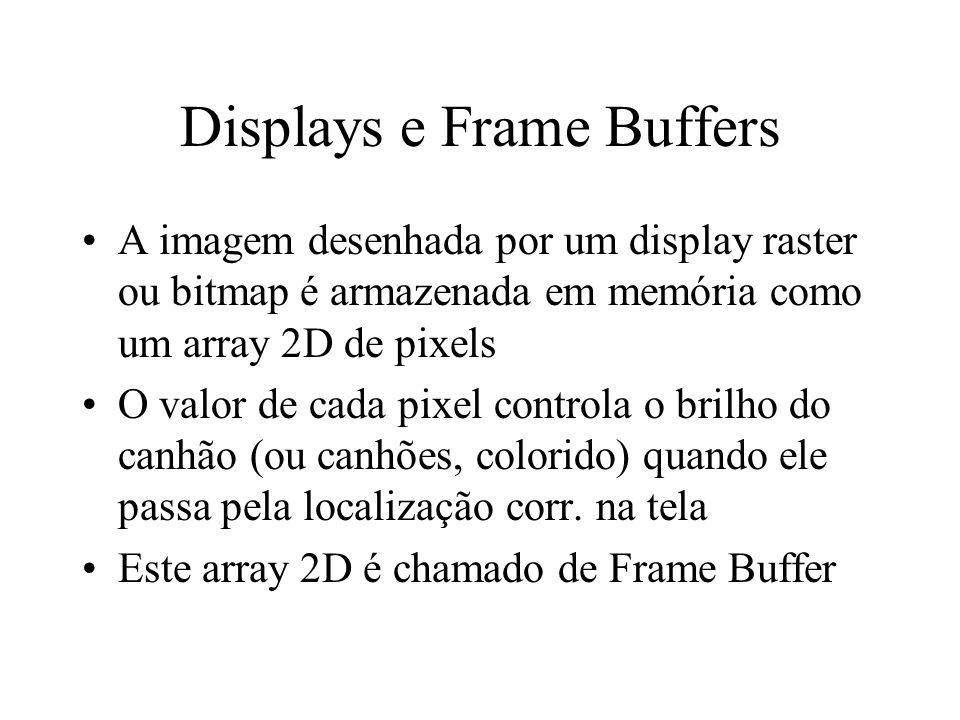 Displays e Frame Buffers A imagem desenhada por um display raster ou bitmap é armazenada em memória como um array 2D de pixels O valor de cada pixel c