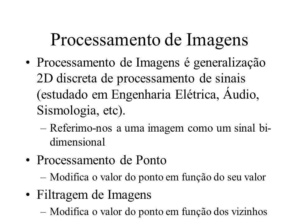Processamento de Imagens Processamento de Imagens é generalização 2D discreta de processamento de sinais (estudado em Engenharia Elétrica, Áudio, Sism