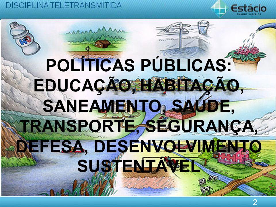POLÍTICAS PÚBLICAS: EDUCAÇÃO, HABITAÇÃO, SANEAMENTO, SAÚDE, TRANSPORTE, SEGURANÇA, DEFESA, DESENVOLVIMENTO SUSTENTÁVEL 2