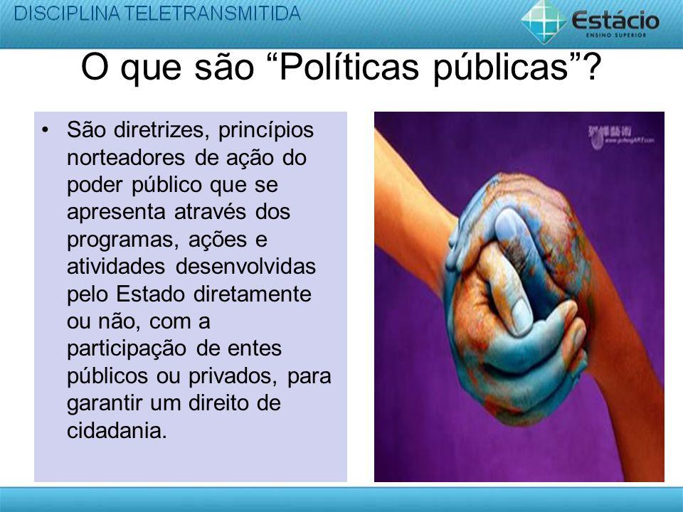 O que são Políticas públicas? São diretrizes, princípios norteadores de ação do poder público que se apresenta através dos programas, ações e atividad