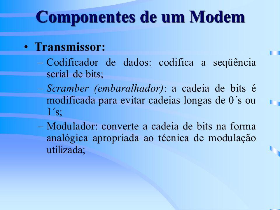 Componentes de um Modem Transmissor: –Codificador de dados: codifica a seqüência serial de bits; –Scramber (embaralhador): a cadeia de bits é modifica