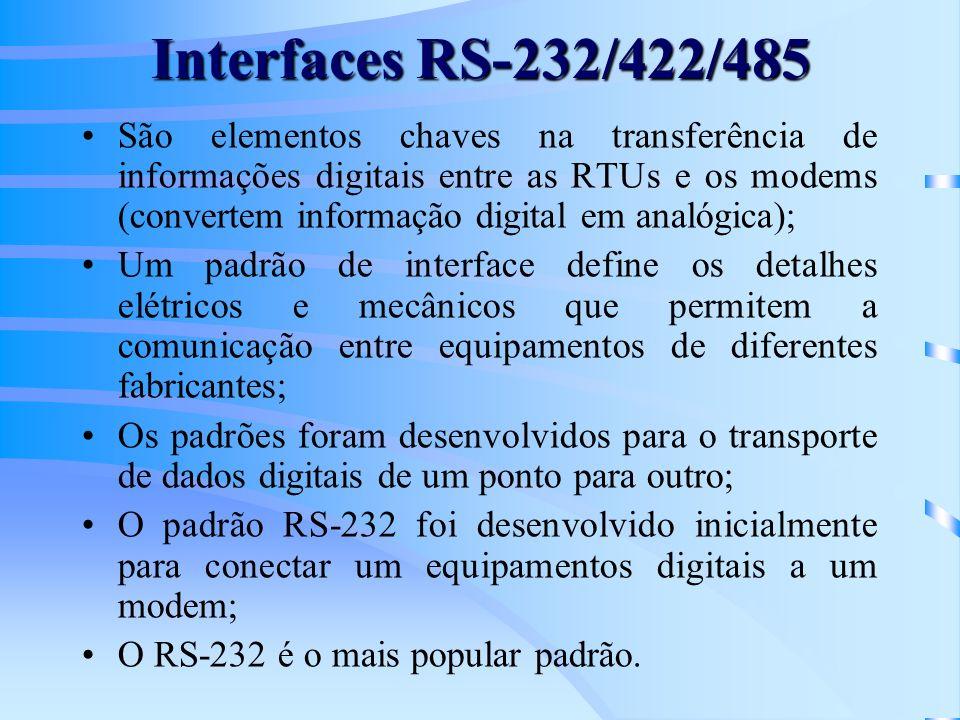 Interfaces RS-232/422/485 São elementos chaves na transferência de informações digitais entre as RTUs e os modems (convertem informação digital em ana