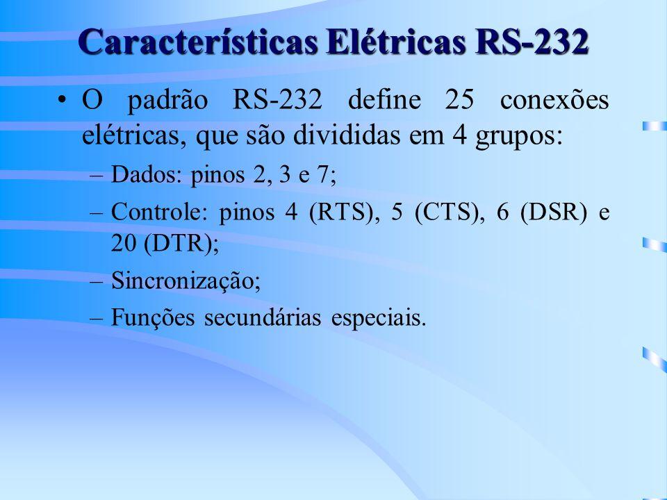 Características Elétricas RS-232 O padrão RS-232 define 25 conexões elétricas, que são divididas em 4 grupos: –Dados: pinos 2, 3 e 7; –Controle: pinos