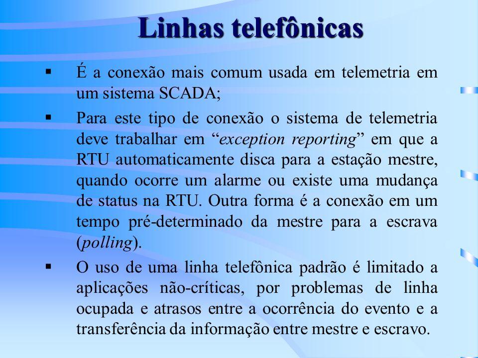 Linhas telefônicas É a conexão mais comum usada em telemetria em um sistema SCADA; Para este tipo de conexão o sistema de telemetria deve trabalhar em
